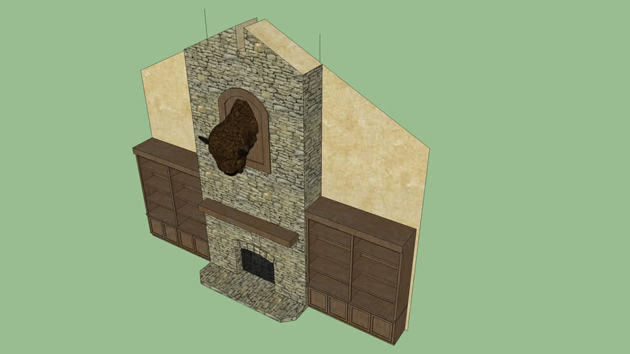 Rustic Fireplace With Bookcase 3d Warehouse