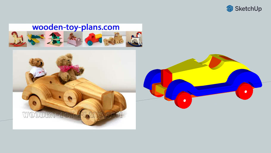 Wooden Toy Car Roadster you can make using free plans from wooden-toy-plans dot com