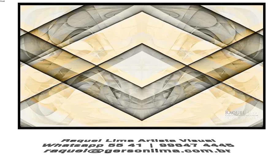 ela Geométrica Cinza e Amarela - Raquel Lima - 1,60m x 80cm