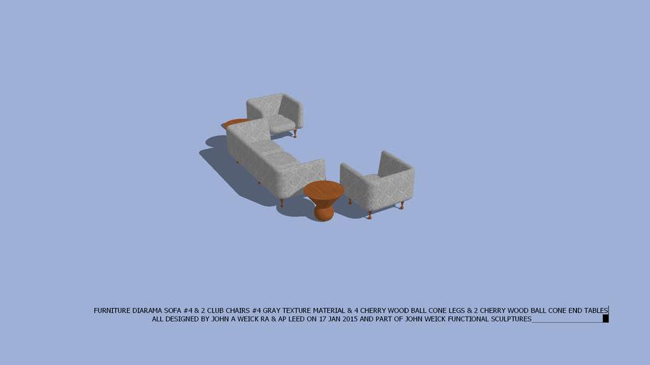 FURNITURE DIARAMA SOFA & CLUB CHAIRS #4 GREY & 2 CHERRY BALL CONE END TABLES DESIGNED BY JOHN A WEICK RA & AP LEED ON 17 JAN 2015