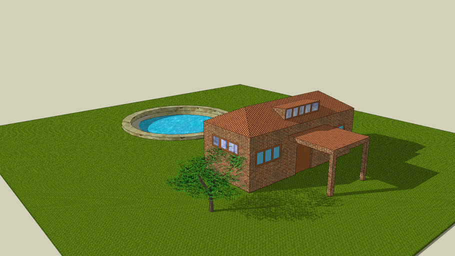 cool house with swimming pool and a tree