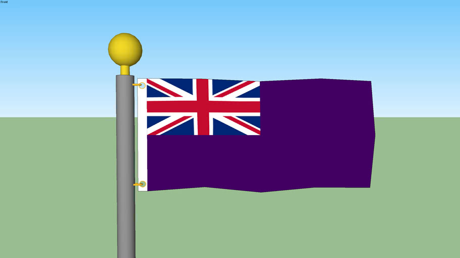 Purple British Ensign Flag with Flagpole