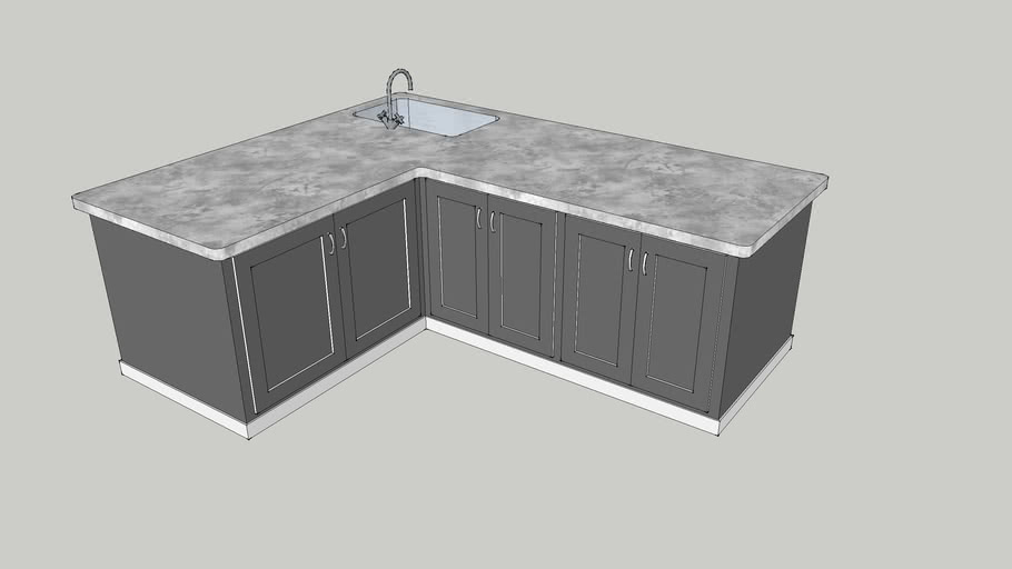 L Shaped Island With Sink And Cabinets 3d Warehouse