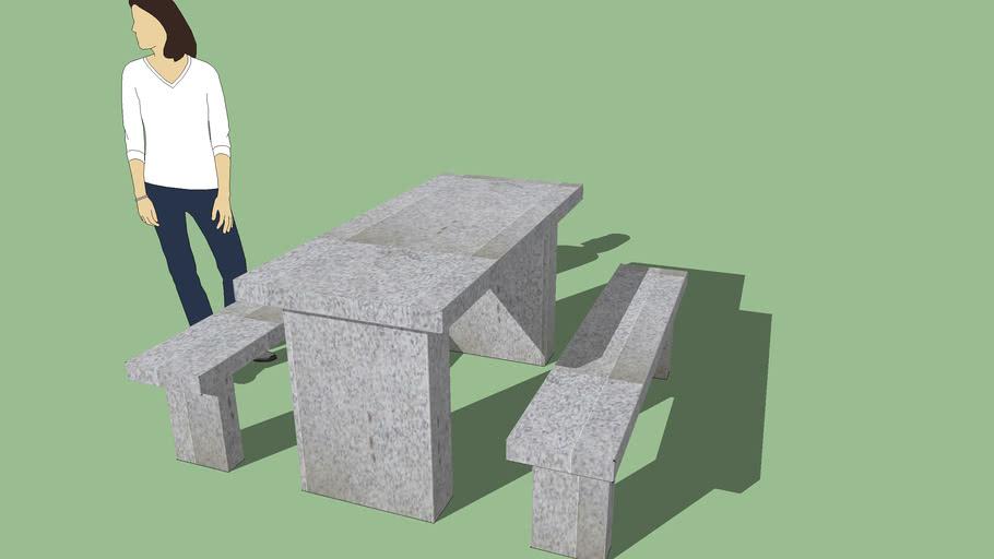 Mesa con bancos para intemperie