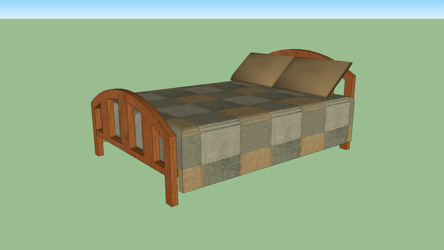 Bed w/ Wood Frame, Pillows, and Bedspread