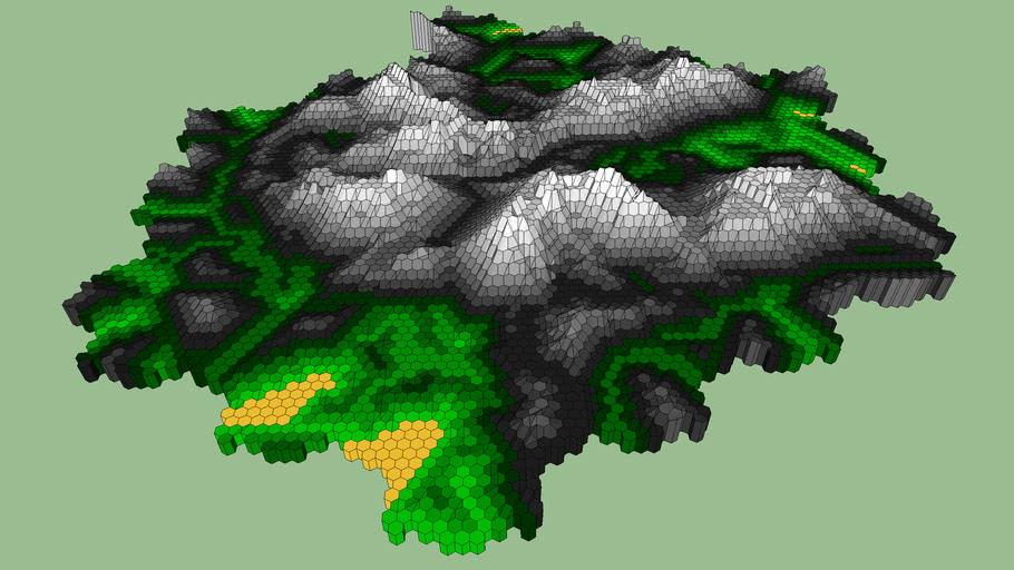 hexagon terrain - mountains