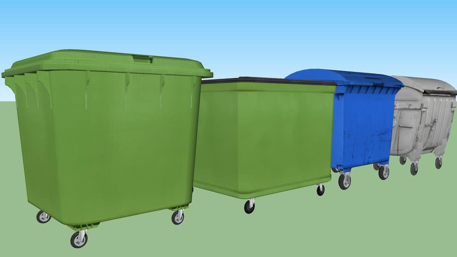 Wheeled waste container set