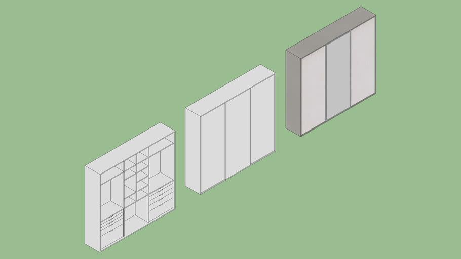 Guarda-roupa de porta de correr - 60 x 3,00 m.