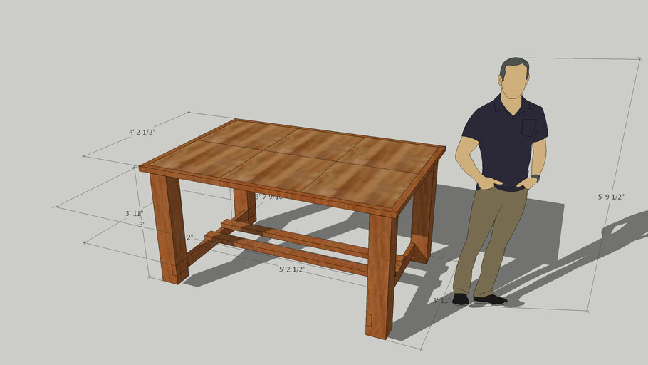 Outdoor table 6x6s 2x4s and 2x2 pavers with wood floor look
