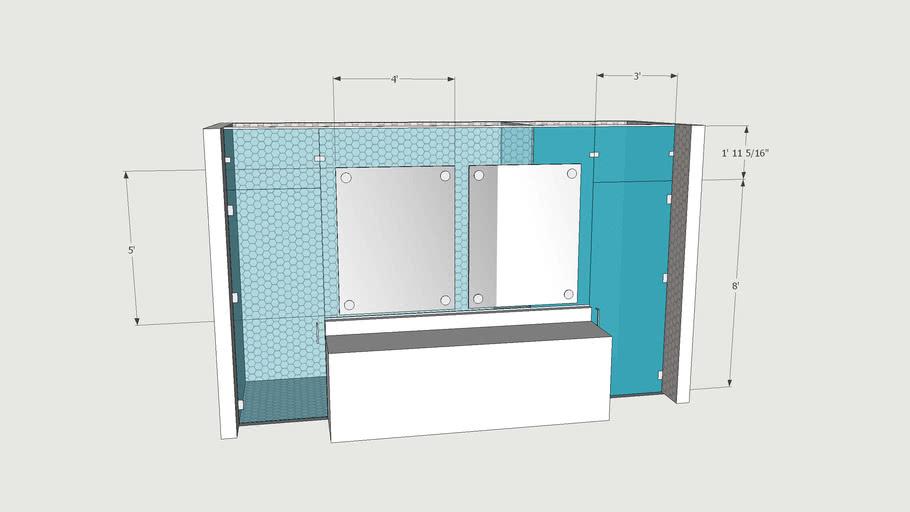 Frameless Shower / Water Closet Combo