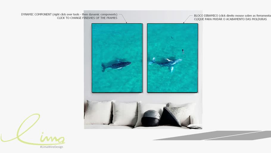 Conjunto com 2 quadros decorativos Baleias - Paola Cury