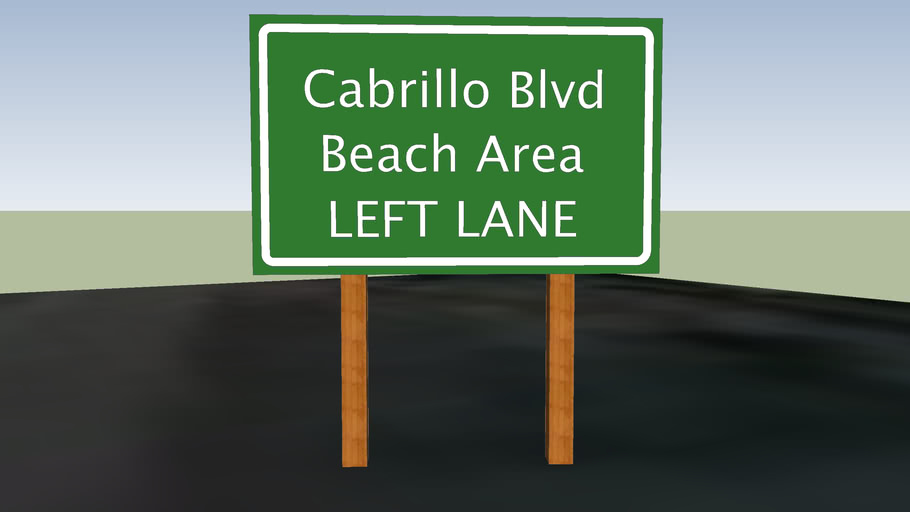 Highway 101 sign - Cabrillo Blvd Beach Area exit
