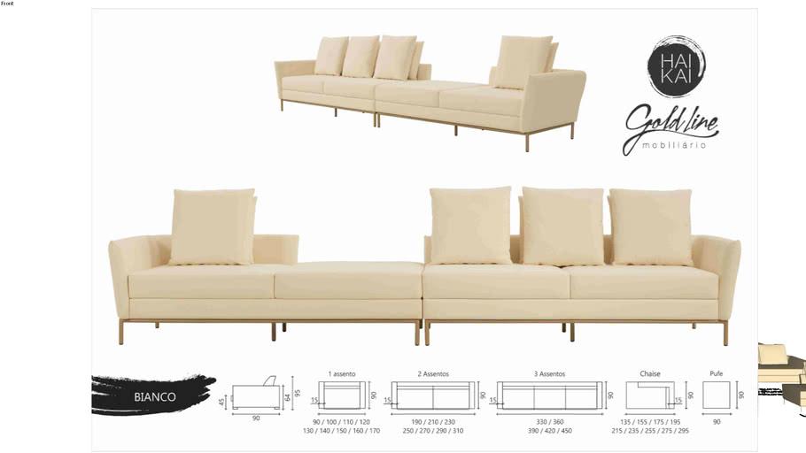 Sofá Bianco - Três Assentos e Chaise