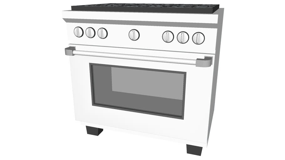 Kitchen Range And Double Oven At 36in Detailed 3d Warehouse