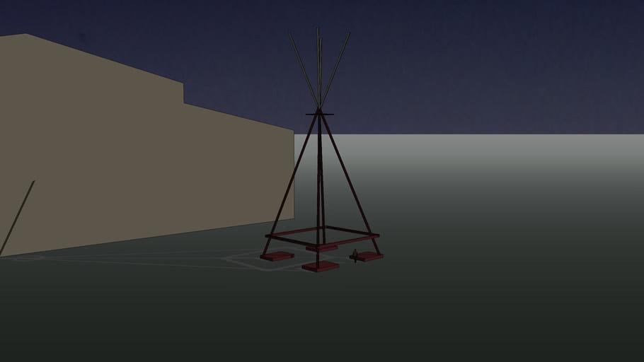 "sculpture abstraite de Mark di Suvero "" E=MC² """
