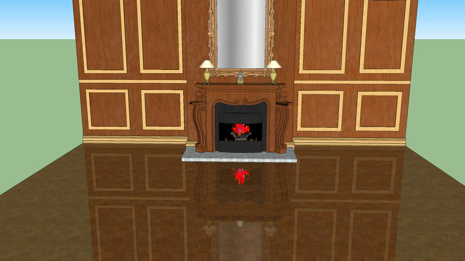 fire place with reflective floor