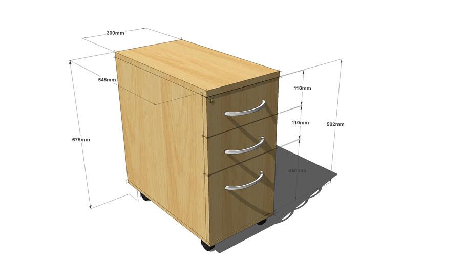 BRAVA LS Under desk narrow pedestal