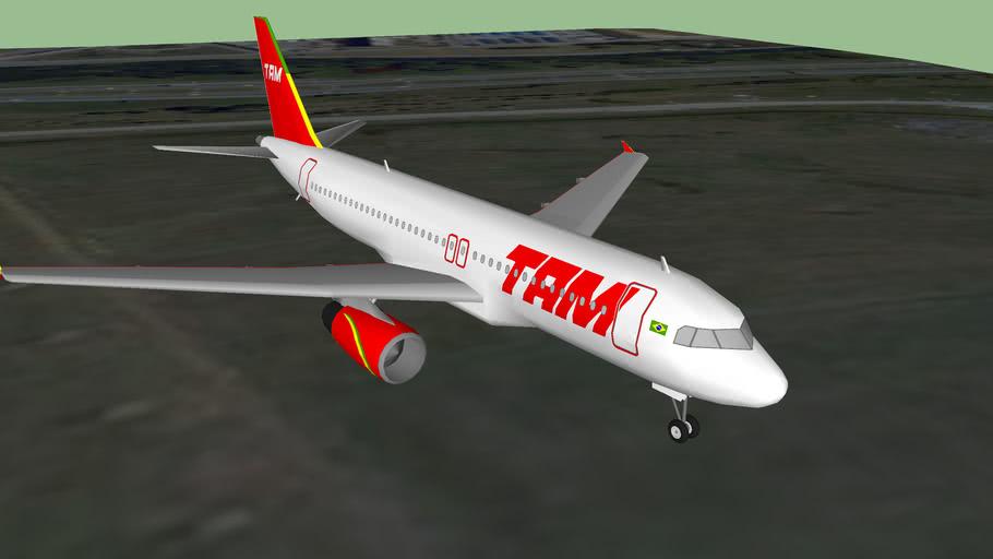 TAM Airbus A320 aterrizando en Sao Paulo Guarulhos, Sao Paulo, Brasil