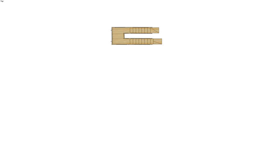 Switch back mono stringer  stair with horizontal slat railing.