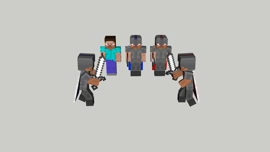 Minecraft skin Steve and knight armors with articulations