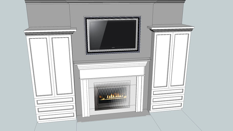 Gas Fireplace Built Ins And Mantel 3d Warehouse