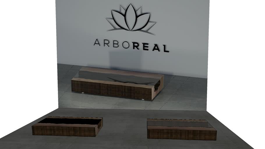 ArboREAL - Mesa de Centro de Bloco de Madeira com Vidro