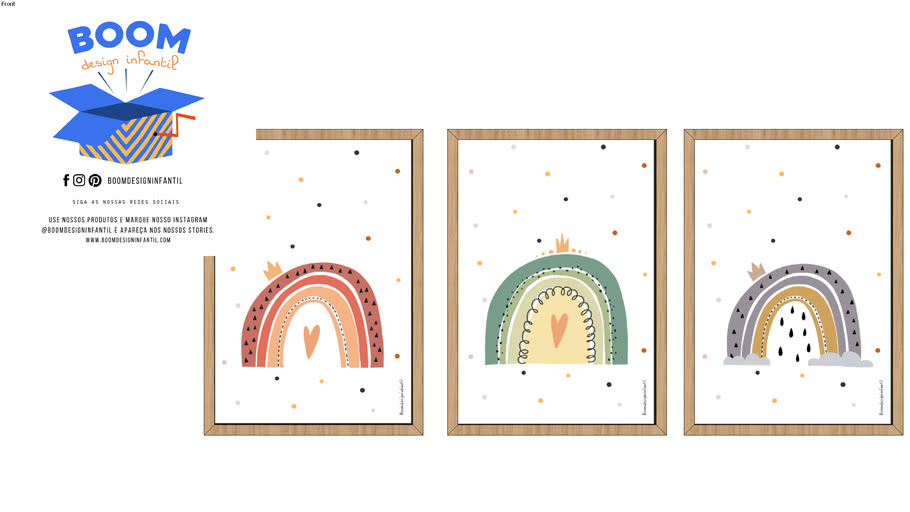 """Quadro infantil """"trio de arco-iris"""""""