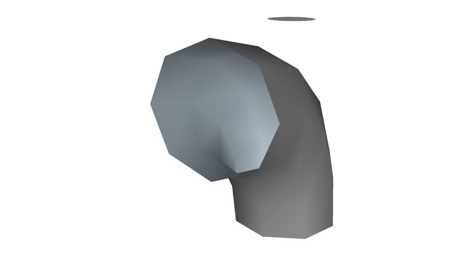90� elbow, 10�, low polygon