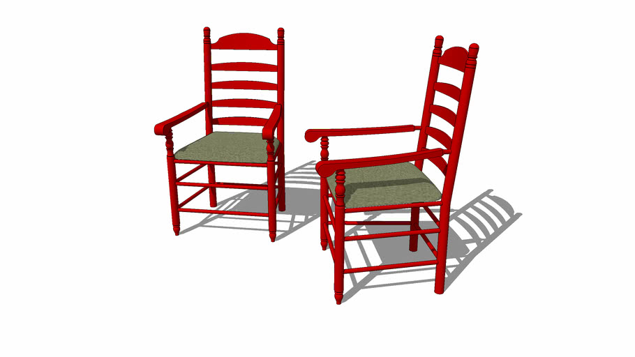 Red ladderback chairs