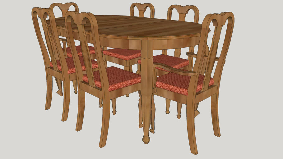 Dining Table With Six Chairs 3d Warehouse