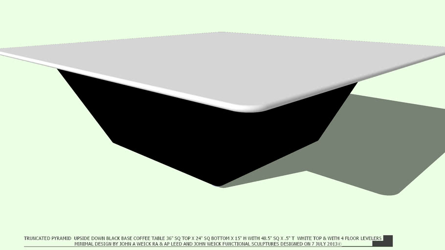 COFFEE TABLE TRUNCATED PYRAMID BLACK 48 WHITE TOP BY JOHN A WEICK RA