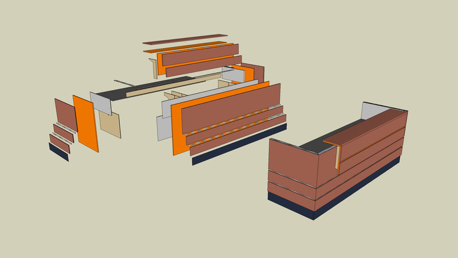 Lucia Reception Desk Exploded View