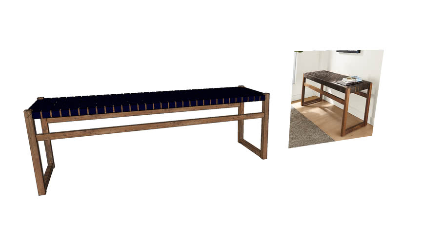 ROOM AND BOARD REED LEATHER BENCH