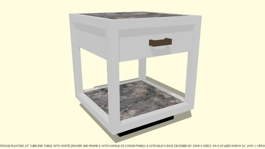 TABLE END MIRAGE WHITE WITH MARBLE OR CORIAN PANELS BY JOHN A WEICK RA