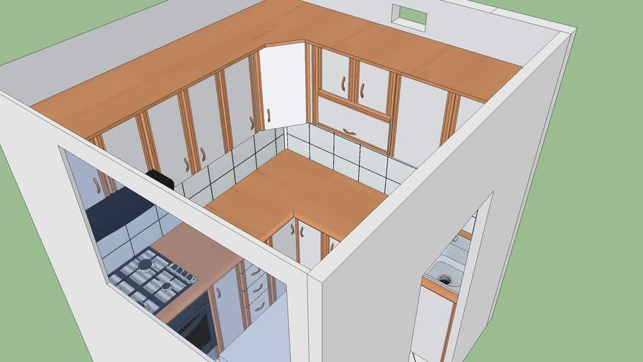mała kuchnia z szafkami, small kitchen