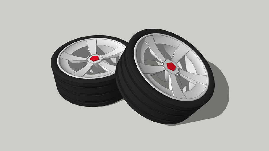 Set of car rims with tires