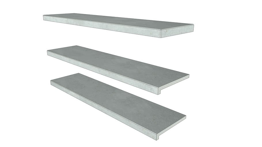 Silver Grey Porcelain Step 1194 x 290 with 40mm Downstand