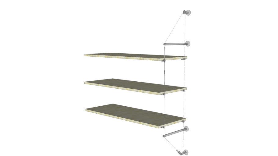 Cable Wall Unit -  3 Wood Shelves - Add-on