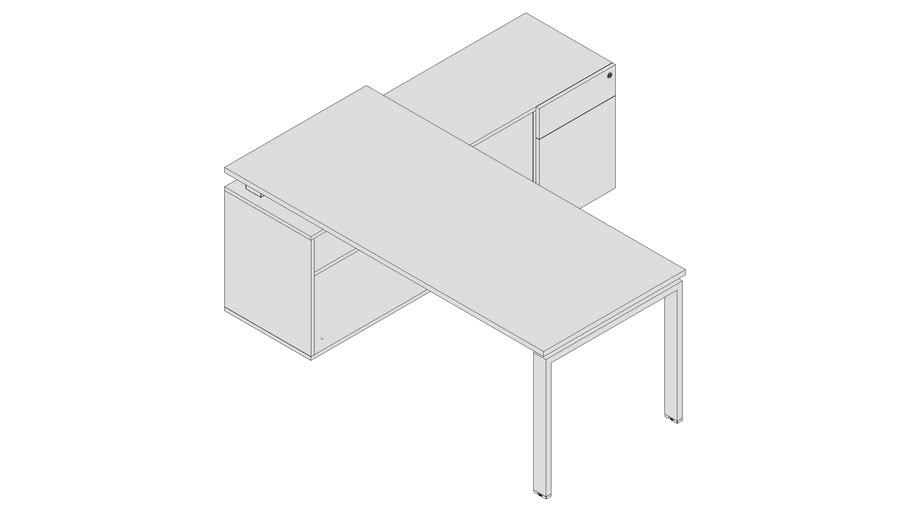 Mesa Gerente com armário credenza - PLU7359 - 1Gaveta 1Porta dir.