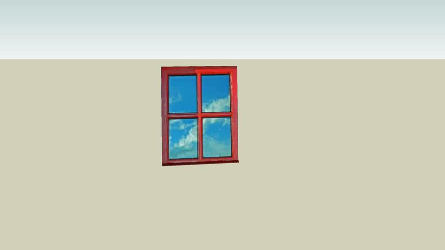 wooden window with cloud scene