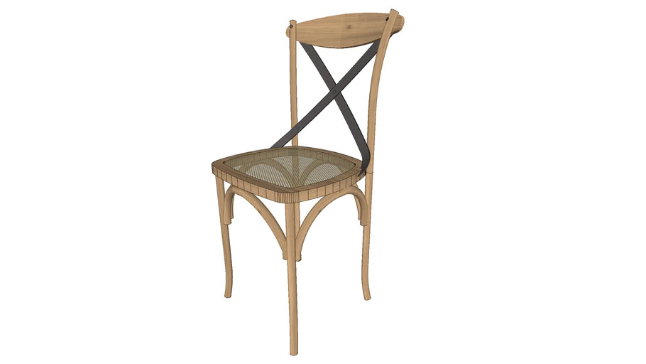 INART Traditional Bistro Chair with metal detail and rattan seat