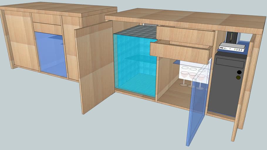 PC and Mini Fridge Sideboard