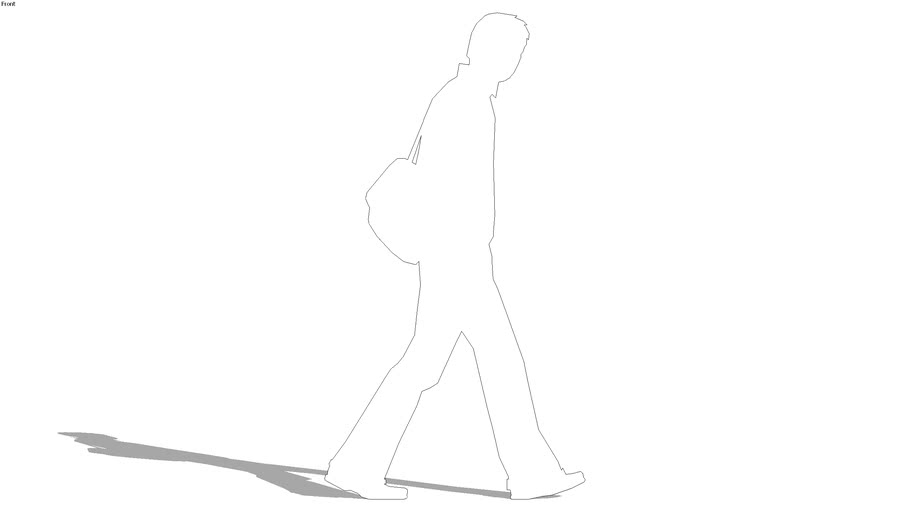 2d silhouette man, walking with backpack