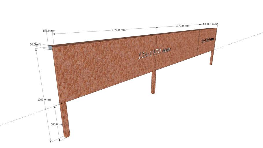 mur 1970 x700 mm Kante 150 x50 mm