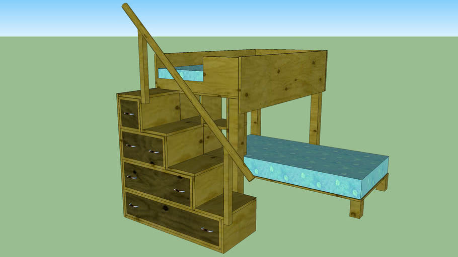 L Shaped Bunk Beds Desk And Steps With Drawers 3d Warehouse