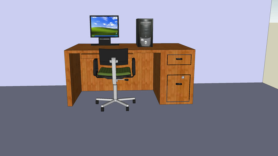 computer with windows xp!desk nd chair!