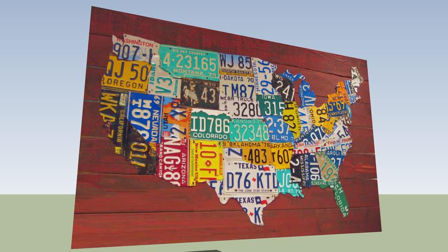 US licence plates. Artistic panel.