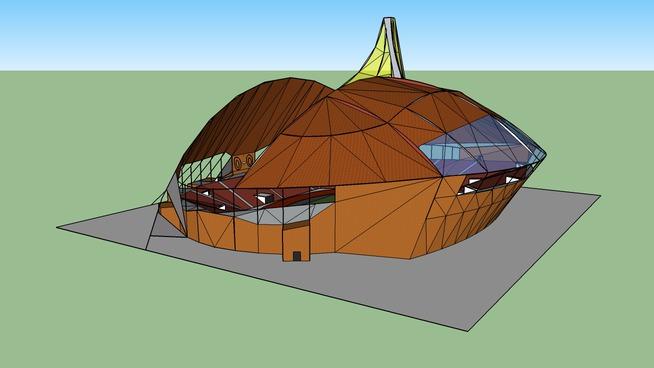 Arced roofed stadium