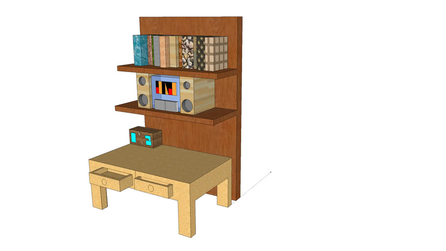 Desk with Stereo system