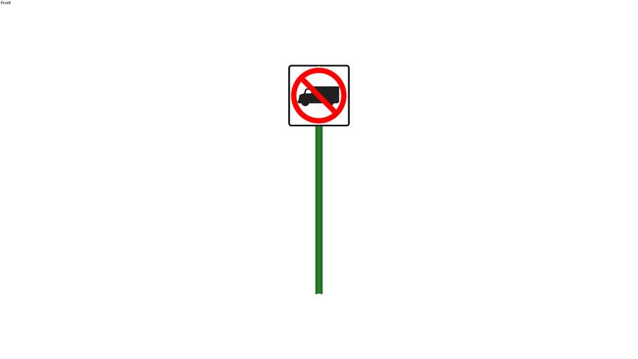 No Trucks Sign - Detailed
